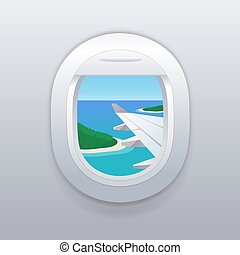 plage., vacances, exotique, fenêtre., destinations., avion, vue