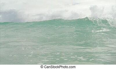 plage., vagues, lent, motion.
