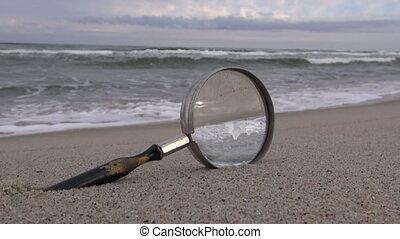plage, vendange, verre, magnifier