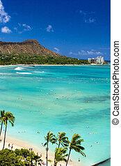 plage, waikiki, tête diamant, hawaï