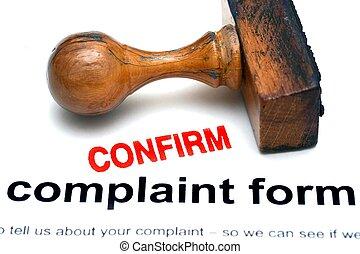 plainte, formulaire, confirmer