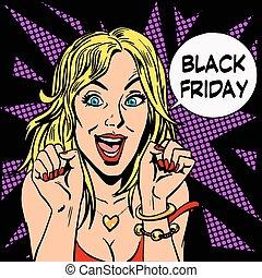 plaisir, vendredi, noir, acheteur, femmes