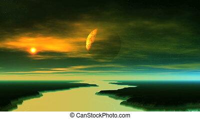 planète, étranger, ombre, vient, dehors