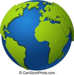 planète, amérique, space., bleu, globe., isolé, mondiale, la terre, vert, océans, vecteur, carte, continents, global, afrique, 3d, europe, rond, réaliste, numérique, concept, illustration, communication