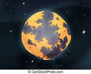 planète, backg, la terre, dessin animé, espace