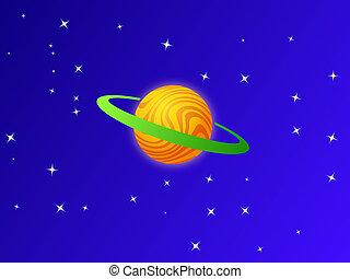 planète bleue, ciel blanc, orange