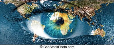 """planète bleue, nasa"""", oeil, meublé, ceci, image, -, hman, """"elements, la terre"""