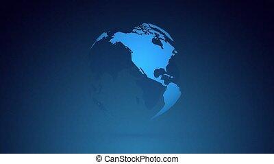 planète bleue, tourner, globe, fond foncé, la terre