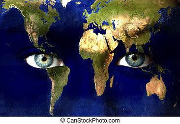 planète bleue, yeux, humain, la terre