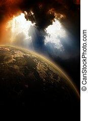 planète, ciel sombre