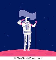 planète, concept, extérieur, colonization., holging, space., projet, drapeau, vecteur, astronaute, mars, astronautique, rouges