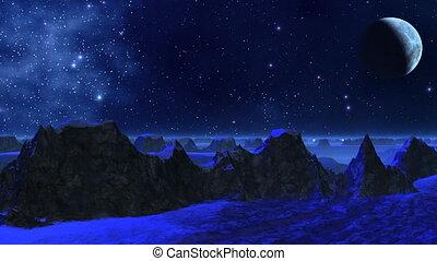 planète, (dark, fantastique, bleu, light)