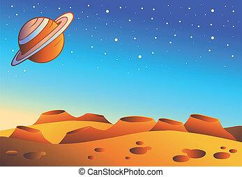 planète, dessin animé, paysage, rouges