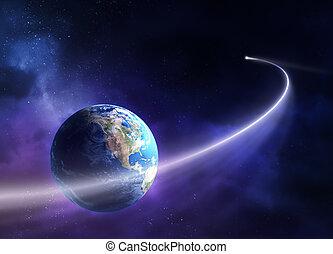 planète, en mouvement, la terre, comète, passé