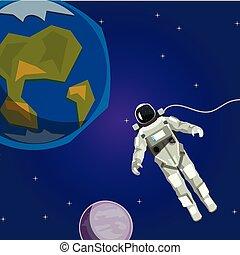 planète, espace, astronaute, étoiles, ute