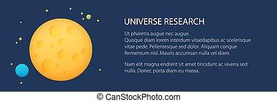 planète, espace, bannière, étoiles