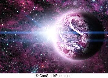 planète, espace, sunriece, rouges, beau