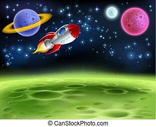 planète, extérieur, dessin animé, fond, espace