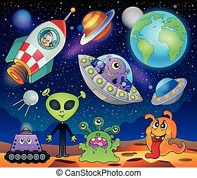 planète, fantasme, thème, 1, rouges