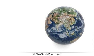 planète, fond, la terre, modèle, tourne, earth., blanc, 3d