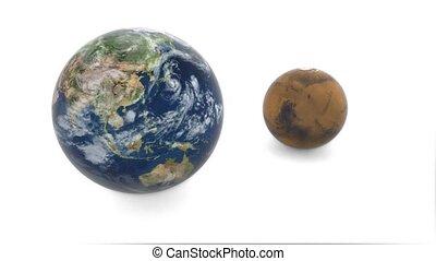 planète, fond, mars, la terre, modèle, tourne, earth., blanc, 3d