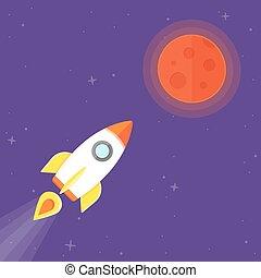 planète, fusée, mars