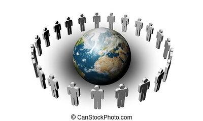 planète, gens, tourner, cercle, autour de