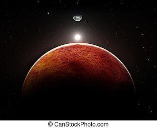 planète, lune, illustration, mars