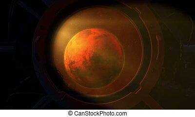 planète, mars, vaisseau spatial, rond, porthole.
