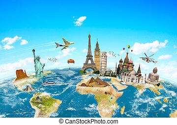 planète, mondiale, célèbre, monuments, entourer, la terre