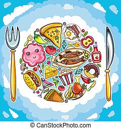 planète, nourriture, coloré, mignon