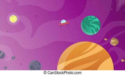 planète, objet, dessin animé, espace