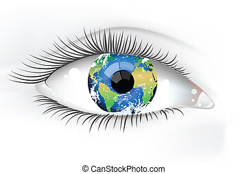 planète, oeil, la terre, desaturated