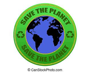 planète, sauver, étiquette