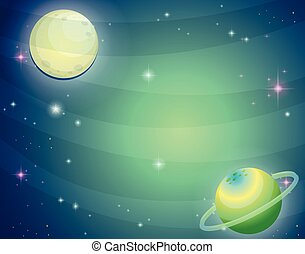 planète, scène, lune