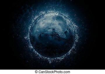 planète, science, -, fiction, eau, mars., art.