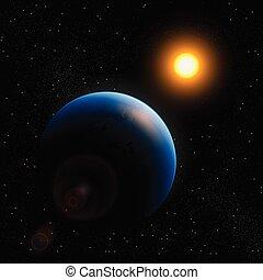 planète, soleil, la terre, étoiles, espace