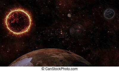 planète, soleil, la terre, planètes, espace