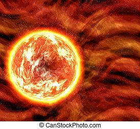 planète, soleil, ou, lave