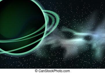 planète, space., étoiles