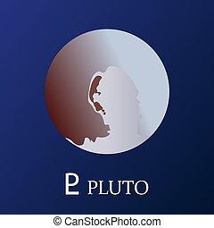 planète, style, pluton, plat