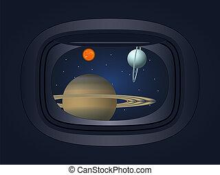 planète, vaisseau spatial, fenêtre, vue