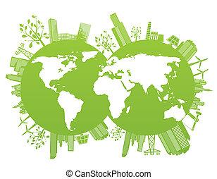 planète, vert, environnement