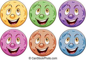 planètes, faces