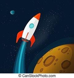 planètes, image, planète, vecteur, extérieur, ou, surface, fusée, vaisseau spatial, dessin animé, voler, lune, illustration, plat, rocketship, univers, mars, espace
