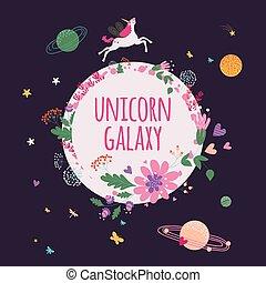 planètes, licorne, carte, illustration, floral, vecteur, galaxie, étoiles, espace, main, dessiné, gabarit