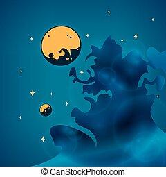 planètes, nébuleuse, espace, illustration, vecteur, étoiles