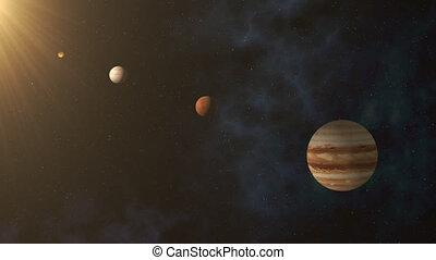 planètes, système, solaire, parade