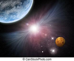 planètes, -, univers, nébuleuse, starfield