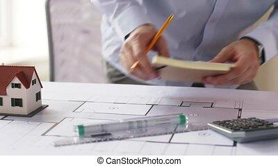 plan, architecte, prendre, autocollants, notes